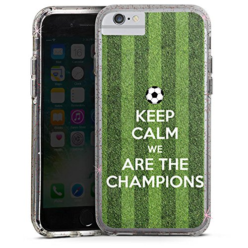 Apple iPhone 6s Bumper Hülle Bumper Case Glitzer Hülle Fussball Football Champions Bumper Case Glitzer rose gold