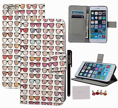 """xhorizon TM ZY Aquarelle série peinte Phone Case Motif Multiple Noir de couverture de la peau Shell etui coque housse case cover avec support et cart de crédit pour 5.5 """"iPhone 6 Plus #7-Glasses"""