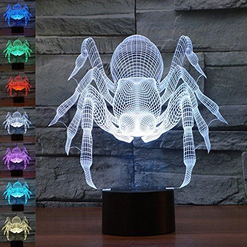 3d ilusión lámpara luz nocturna jawell araña 7colores cambiantes Touch USB mesa...