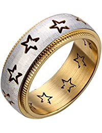 JewelryWe Anillo Joyas hombre 8mm de acero inoxidable para el compromiso y el diseño de la boda con la estrella de plata y…