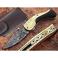 A mano in acciaio Damasco coltello da tasca pieghevole 7.2
