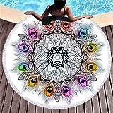 Rundes Sonnenbadetuch, tragbare Picknickdecke, stylische Yogamatte, Tischdecke, Sporttuch, Quastenbadetuch, A4, 150 × 150 cm