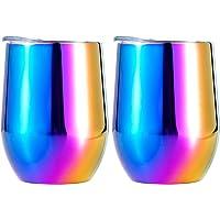 Lot de 2 tasses à café avec couvercle, verre à vin en acier inoxydable - Thermos isotherme à double couche - Pour…