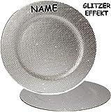1 Stück _ großer Teller -  Silber - Glitzer & Glanz  - Ø 33 cm - Unterteller / Platzteller / Plätzchenteller - Keksteller - grau / edel - festlich gedeckte .. - 3
