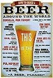 Bier bestellen in 21 Sprachen how to order beer worldwide alkohol metal sign deko schild blech projekt