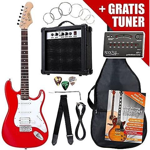 Rocktile ST PowerPack SET chitarra elettrica rossa con amplificatore, borsa, accordatore, cavo