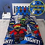 "LEGO NINJAGO MOVIE Repeat Print Design ""Ninja"" Duvet Set, Multi-Colour, Single"