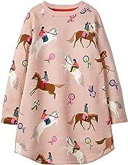 Bevalsa Mädchen Schönes Kleid Langarm Baumwolle Weihnachten Kleider Frühling Herbst Winter Gepunktete Prinzessin Lama T-Shirt