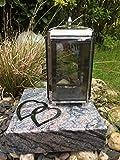 Or Grablaterne und Zwei Herzen aus Edelstahl inklusive Granitsockel Youparana 20cm x 20cm x 5cm Lampe mit Sockel und Relief Herzen
