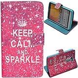 Voguecase® Funda Carcasa Cuero Tapa Case Cover Para LG L Bello (keep calm sparkle) + Gratis aguja de la pantalla stylus universales
