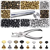 240 Set Leather Rivets Double Cap Rivet Tubular Metal Studs 2 Sizes with Punch Pliers and 3 Pieces Setting Tool Kit for Leather Craft Repairs Decoration, 4 Colors