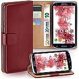 Samsung Galaxy S3 Hülle Dunkel-Rot mit Karten-Fach [OneFlow 360° Book Klapp-Hülle] Handytasche Kunst-Leder Handyhülle für Samsung Galaxy S3 / S III Neo Case Flip Cover Schutzhülle Tasche