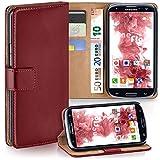 moex Samsung Galaxy S3 | Hülle Dunkel-Rot mit Karten-Fach 360° Book Klapp-Hülle Handytasche Kunst-Leder Handyhülle für Samsung Galaxy S3 / S III Neo Case Flip Cover Schutzhülle Tasche