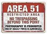 Targa metallica da parete con avvertimento dell'Area 51, a tema alieni e complotti