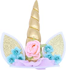 TENDYCOCO Unicorn Cake Topper with Unicorn Horn Ears and Flowers Decorative Cake Cupcake Topper for Birthday Baby Shower Unicorn Theme Party Supplies (Golden)