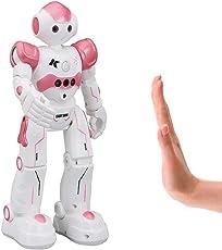 Virhuck R2 Robot Telecomandato per Bambini, Programmazione Intelligente e Gesture Sensing, Danza Cantante Camminare RC Robot Giocattolo, 500 mAh, Carica USB - Rosa