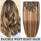 Extensions Cheveux Naturel a Clip Maxi Volume Tête Entière - 100% Remy Human Hair Double Weft 8 Pcs Extensions (#4+27 Châtain Méché Blond foncé, 25cm-110g)