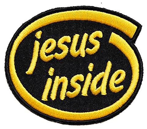 ecusson jesus christ thermocollant 7,5x6,5cm patche badge biker moto chretien catholique