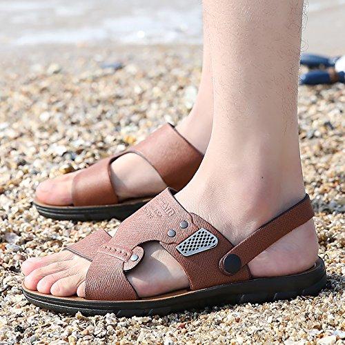 sandales pour hommes en cuir véritable, chaussures de sport, pantoufles orteil de rosée de l'air, chaussures de plage, pantoufles en cuir d'été antidérapage Brown