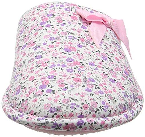 Isotoner - Isotoner Floral Mule Slippers, Pantofole Donna Pink (Pink)