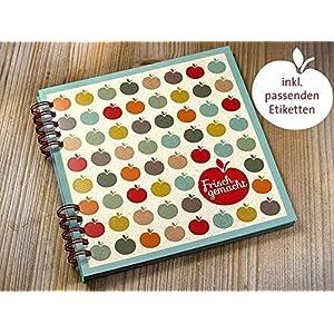 DIY Kochbuch Rezeptbuch zum Selberschreiben inkl. 20 Aufkleber für Küche Kochen Eingemachtes Marmelade...