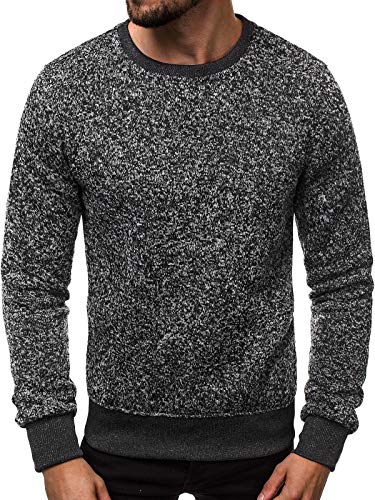 OZONEE Herren Sport Fitness Training Crewneck Täglichen Modern Sweatshirt Langarmshirt Pullover Basic Longsleeve J. Style 2001-20 XL ANTHRAZIT -