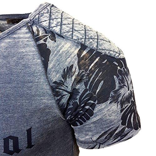 Rusty Neal Herren Rundhals T-Shirt Kurzarm Hemd Slim Fit Design Fashion 15067 Petrol