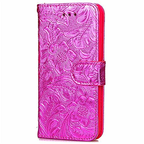 Coque pour iPhone 7 Plus (5,5 zoll),Housse en cuir pour iPhone 7 Plus (5,5 zoll),Ecoway étui en cuir PU Cuir Flip Magnétique Portefeuille Etui Housse de Protection Coque Étui Case Cover avec Stand Sup Fleur de grenadier(Rose Rouge)