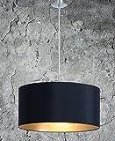 Hochwertige Hängelampe | Hängeleuchte aus Chintz Stoff | Schwarz Gold | XXL | Pendelleuchte | Lampe | Wohnzimmer | Esszimmer | Schlafzimmer | Küche | Ø 55cm | Schirm Rund | Modern | LED geeignet | dimmbar | 2x E27 Fassung