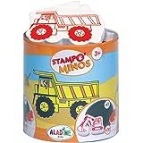 Aladine - Stampo Minos Chantier - Kit Tampons Enfant - Activités Manuelles Fille et Garçon - Encre Lavable - Jouets et Jeux C