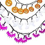 lederTEK LED Lichterkette, Batterie Betrieben, Kürbis,Geister und Fledermäuse Beleuchtung Form, Deko für Halloween, Allerheiligen, Weihnachten, Hochzeit, Garten und Party