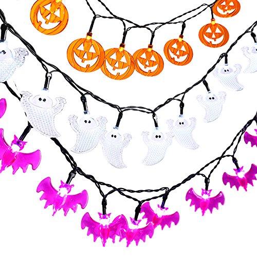 Ledertek luci della stringa 3 confezioni 20 led light design zucche, pipistrelli e fantasmi per halloween e qualsiasi tipo di festa o evento
