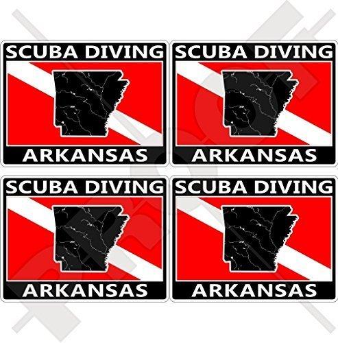 ARKANSAS SCUBA DIVING Flag-Map Form USA, Amerika 50mm Rechteckige Auto & Motorrad Aufkleber, x4 Vinyl Stickers - Arkansas Vinyl