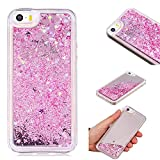 Coque iPhone 5, Coque iPhone 5/5S/SE Liquide, Caselover Bling Bling Dynamic Paillettes Souple TPU Housse Glitter Etoiles Transparente Gel Bumper Anti-Rayures Etui Coque de Protection, Rose