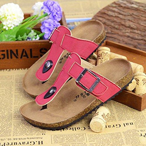 Tongs Multicolores Mixte Enfant - Mules Garçon - Sandales Chaussons pour Fille Rouge