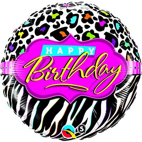 18 Inch Round Leopard/Zebra 1980s Birthday Party Foil Balloon