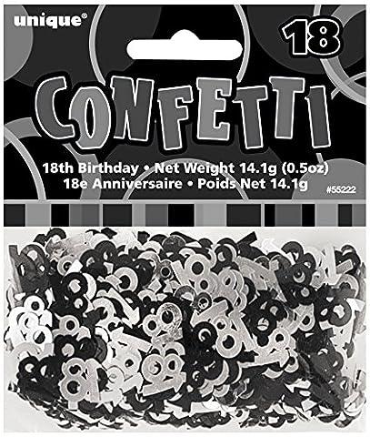 Unique Party - 55222 - Confettis - 18ème Anniversaire - Noir Glitz