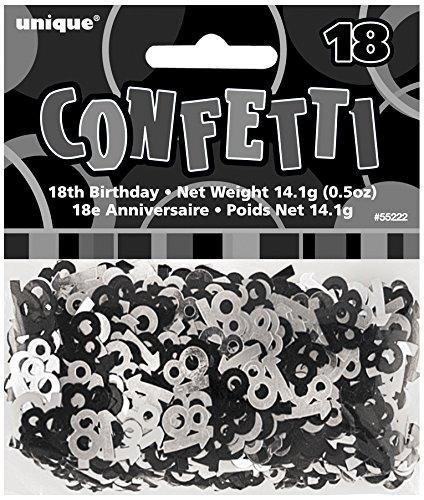Unique Party - 55222 - Confettis - 18ème Anniversaire - Noir Glitz 0011179552221