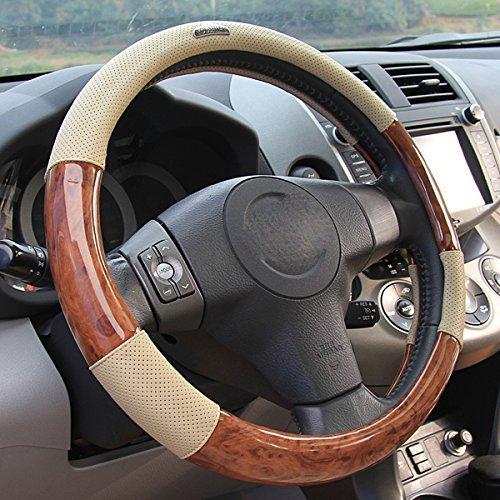 Preisvergleich Produktbild Sino Banyan Auto Lenkradabdeckung, Universal Fit weich atmungsaktiv 15 Zoll (Holz Beige)