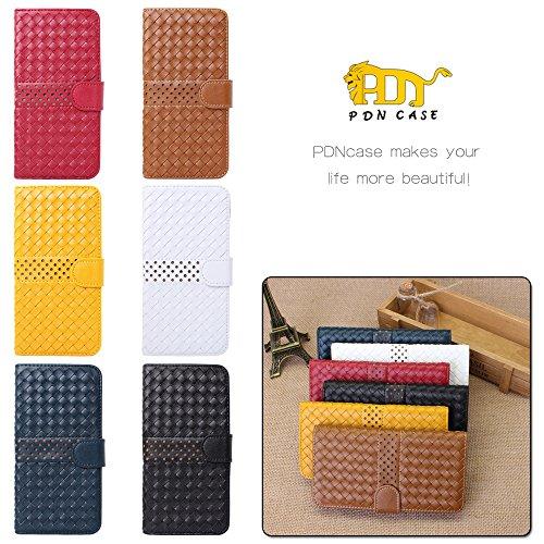 Pdncase iPhone 6 Plus Leder Tasche Case Hülle Wallet Braided Lines Stripe Pattern Schutzhülle für iPhone 6 Plus Farbe Gelb Braun
