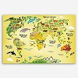 ge-Bildet® hochwertiges Leinwandbild XXL Weltkarte für Kinder- Premium Leinwanddruck 120 x 80 cm einteilig