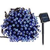Lamker 200 LED Solar Lichterkette Außen 22 M Außenlichterkette Wasserdicht mit Lichtsensor Beleuchtung Dekoration für Weihnachten Party Haus Hochzeit Garten Feier Fest Blau