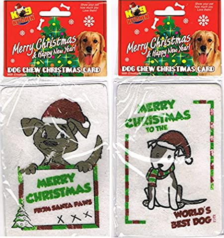 Hund-kauen Weihnachtskarte mit umschlag
