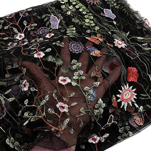Tela de encaje floral bordada de Takemore7, 1 yarda, bordado floral, color negro/blanco, malla para vestido de boda de encaje, ancho de 121,92 cm, blanco/negro, negro, Tamaño libre