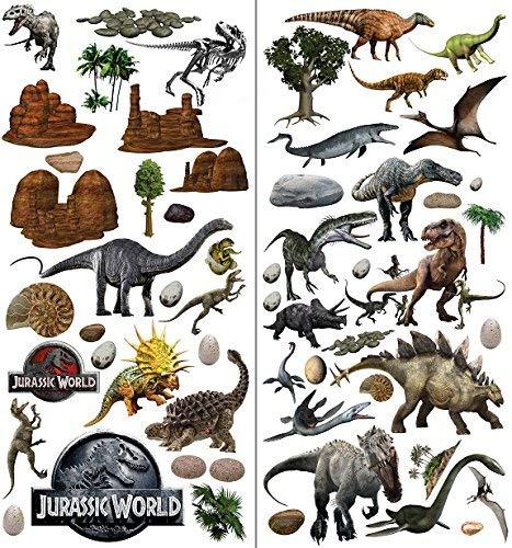 Adesivo da parete con i dinosauri di jurassic world, effetto 3d, per decorare la cameretta di bambini e bambine - xl 73 x 76 cm