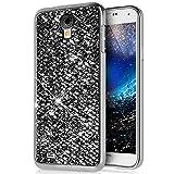Galaxy S4 Mini Hülle,Surakey Luxus Glänzend Glitzer Strass Diamanten Handyhülle TPU Silikon Hülle Case Tasche Weiche Silikon Rückseite Glitzer Schutzhülle für Samsung Galaxy S4 Mini, Schwarz