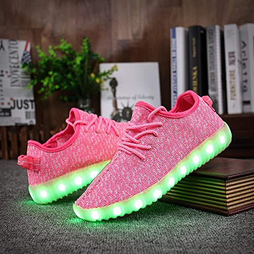 Shinmax LED ChaussuresLED Chaussures,Shinmax Chaussure LED Sports Basket Lumineuse 7 Couleur USB Charge Chaussure Clignotants pour Unisexe Homme Femme Garçon Fille avec Certificat CE Rose