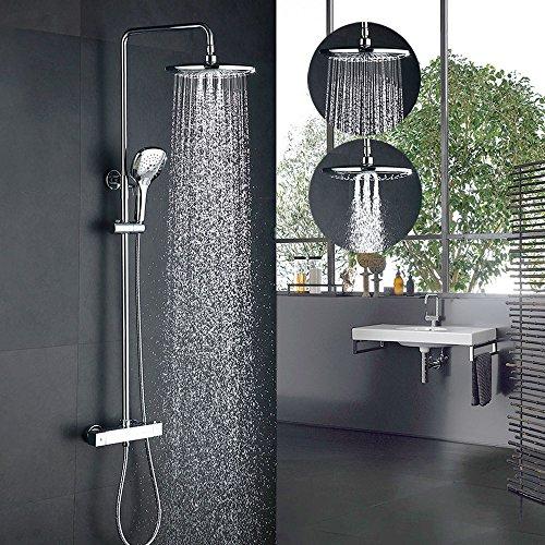 Desfau Thermostat Duschsystem mit 3-Strahlen Überkopfbrause Duscharmatur Duschset Chrom Dusche Armatur inkl Duschkopf Duschstange Regenbrause