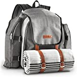 VonShef Ash 4 Person Picnic Backpack Bag With Blanket - Premium Woven Grey Finish & Leather-style Detailing, Includes 29 Piece Dining Set, Cooler Compartment & Extra Side Pockets