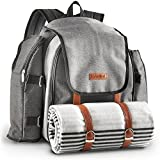 VonShef Ash 4 Person Picnic Backpack Bag With Blanket – Premium Woven Grey Finish & Leather-style Detailing, Includes 29 Piece Dining Set, Cooler Compartment & Extra Side Pockets